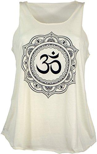 GURU SHOP Tanktop mit Ethnodruck, Damen, OM Mandala Creme, Synthetisch, Size:38, Tops & T-Shirts Alternative Bekleidung