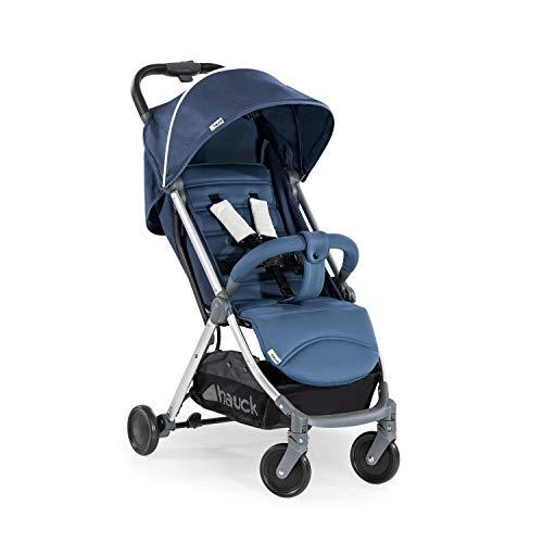 Hauck Swift Plus kompakter Buggy bis 18 kg mit Liegefunktion ab Geburt, extra klein klappbar, Einhand-Faltmechanismus, leicht, aus Aluminium, mit Tragegurt, blau