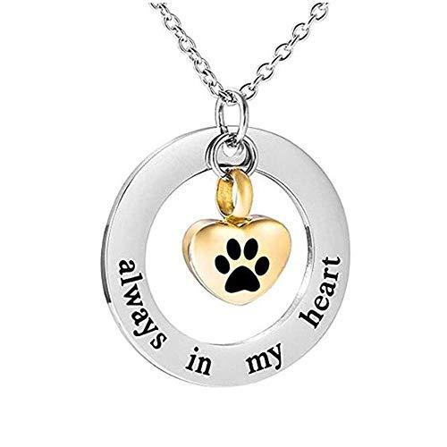 PicZhiwenture Personalizar Siempre en mi corazón, Collar de urnas conmemorativas para Humanos/Mascotas, ataúd de Ceniza, Colgante de cremación, joyería de Acero Inoxidable Que se Puede Abrir