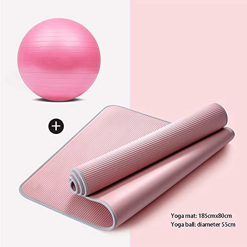 Yoga-Set for Anfänger Yoga Starter Kit 2 Stück Yoga Ausrüstung Set mit Yoga-Kugel Nicht Beleg-Fitnessmatte for alle Arten von Yoga (Color : A, Size : 15mm)