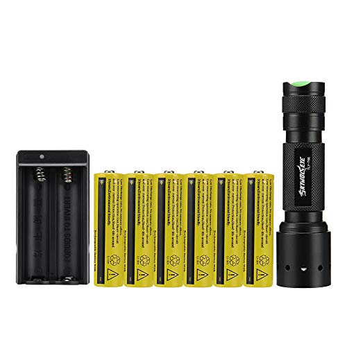 Skywolfeye LED 2000 Lumen 18650 Flashlight with 6PCS 3.7V 9800mAh Rechargeable Battery and Charger,Ultra Bright Adjustable Focus and 5 Modes