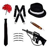 Gangster Fancy Kleid Set-Trilby Hut, Krawatte, Hosenträger, Zigarre, Schnurrbart & Nelke