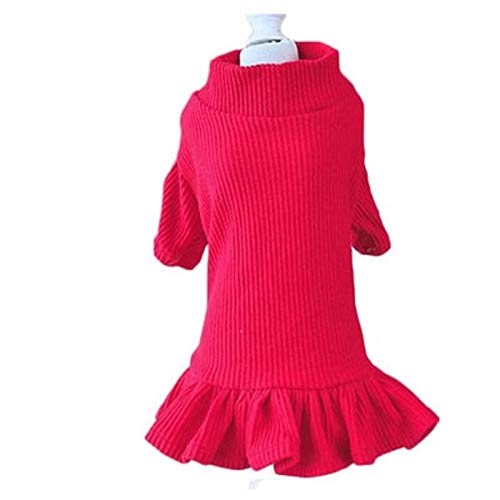 XpFac Store Color Puro Vestido de Punto O-Cuello suéter Vestido suéter Primavera otoño Sudor Camisa niña Falda Dulce Perrito Ropa Ropa (Color : Red, Size : Medium)