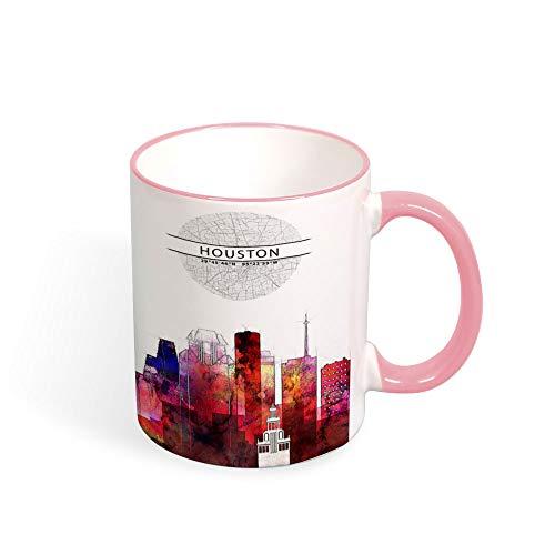 Houston City Art Taza, taza de acuarela Skyline, silueta de Houston TX con mapa de la ciudad, taza de café o té, regalo de cocina genial, taza de 325 ml, cerámica, rosa