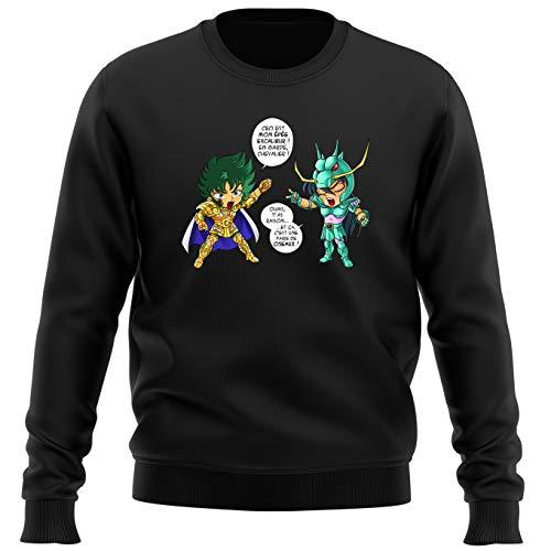 OKIWOKI pullover, zwart, Saint Seiya, parodisch, Shura, gouden ridder, steenbok en shiryu van de drak: J't'AI gebroken! (Parodie Saint Seiya)