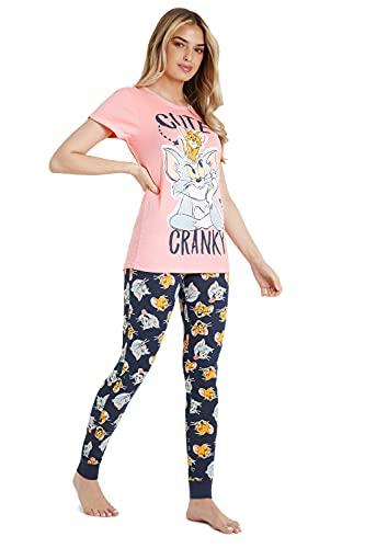 Tom and Jerry Pijamas Invierno Mujer, Conjunto de Dos Piezas Camiseta Manga Corta y Pantalon Largo, Ropa de Dormir Algodón Suave 100%, Regalos Mujer Chicas (M)