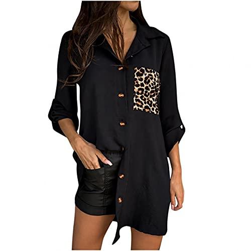 Wave166 Camiseta de manga larga para mujer, monocolor, cuello en V, con bolsillos, informal, holgada, elegante, para otoño, estilo urbano, talla grande, Negro , M