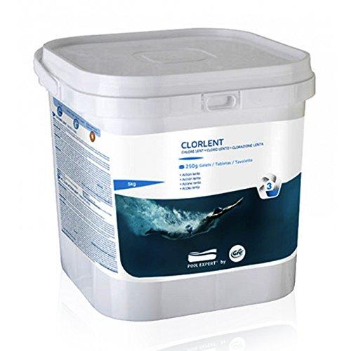 Pastiglie cloro lento da 250gr tricloro 90% per trattare acqua piscina 5 Kg