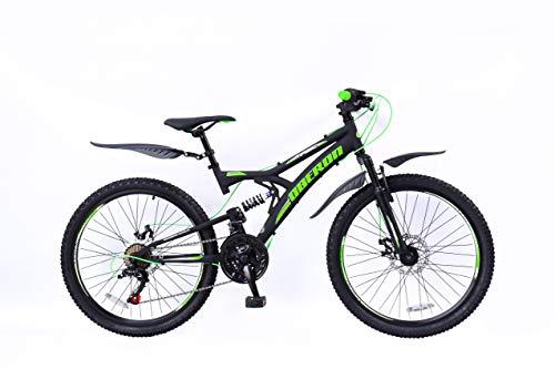 24 Zoll Kinder Jungen Mädchen Fahrrad Kinderfahrrad Jungenfahrrad Mountainbike MTB Rad Bike 18 Gang Shimano Fully Federgabel Scheibenbremse mechanisch Oberon Schwarz Grün