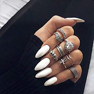 24Pcs 12 Different Sizes Solid Color White Stiletto False Nails Long Full Cover Fake Nails