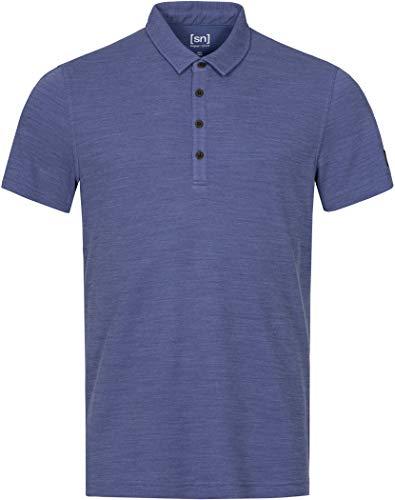 super.natural Polo pour Homme en Laine mérinos piqué Bleu Taille S