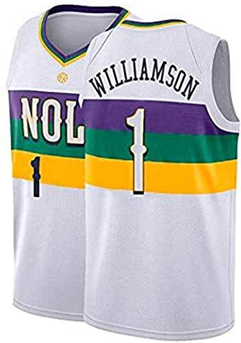 XLXay Herren New Orleans Pelicans #1 Zion Williamson 2019 NBA Draft First Round Pick Fast Break Swingman Basketball Trikot (S-XXL), Weiß (City Edition), S (165-170cm/50-65kg)