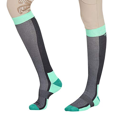 TuffRider Frauen, Belüftet Knee Hallo Socken, Farbe - Charcoal/Neongrün, Größe - Standard