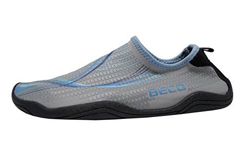 Beco Damen und Herren Badeschuhe Schwimmschuhe Surfschuhe Barfuß Schuhe Wasserschuhe Strandschuhe Aquaschuhe schnell trocknend, blau, 43
