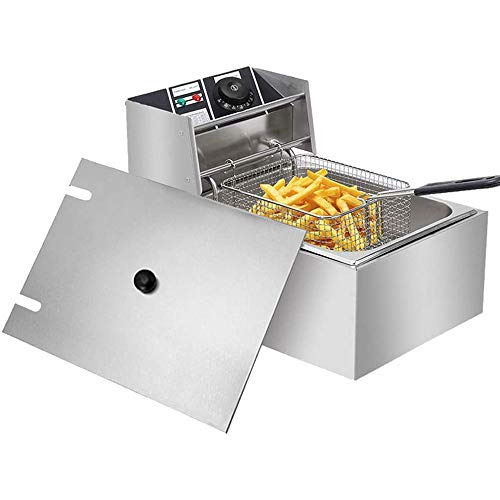 Comft Deep Fryer Commercial Fry Daddy with Basket, Stainless Steel Electric Countertop Large Capacity Kitchen Frying Machine for Turkey, French Fries (6L)
