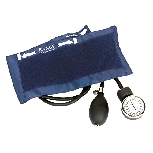 Dixie Ems Deluxe Aneroid Sphygmomanometer Blood Pressure Set W/ Adult Cuff, Carrying Case and Calibration Tool - Navy