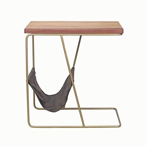 Home&Selected fineer/sofa van massief hout, bijzettafel, rechthoekig, smal, nachtkastje, magazijn, rek 46 x 26 x 52 cm