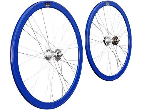 JABs Laufrad Paar 700c Singlespeed Fixed Gear Flip-Flop Felgenpaar Aluminium 43 mm Tellerfelgen Vorderrad + Hinterrad Eingang (Blau)