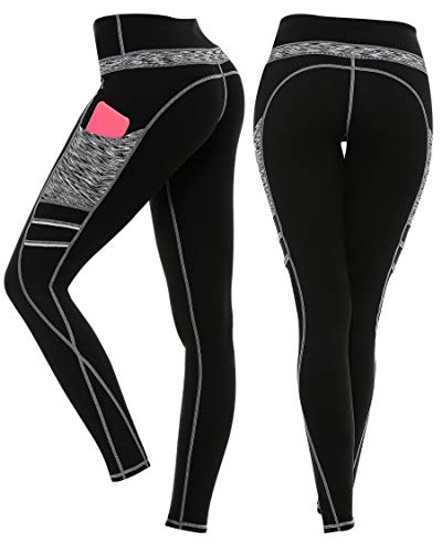 3W GRT Sport Leggings Damen,Sport Leggins,Blickdicht Yoga Sporthose,Streetwear,Fitnesshose mit Taschen,Yogahosen,High Waist Stretch Workout Fitness Jogginghose (Schwarz&Grau-331, M)