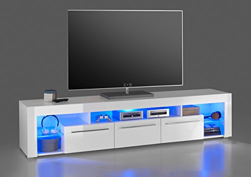 lifestyle4living Lowboard, TV-Schrank, TV-Board, Fernsehschrank, TV-Sideboard, TV-Unterschrank, TV-Kommode, Hochglanz, LED-Beleuchtung, weiß, Maße: 200/44/44 cm