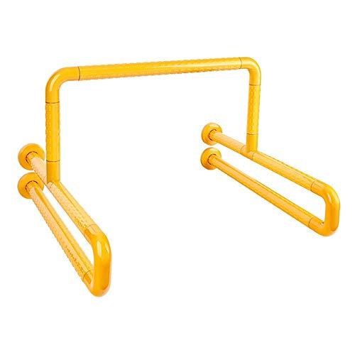 QOVCX Badkamerarmleuningen, dubbele U-vormige toiletbril, roestvrij staal, geschikt voor handicap