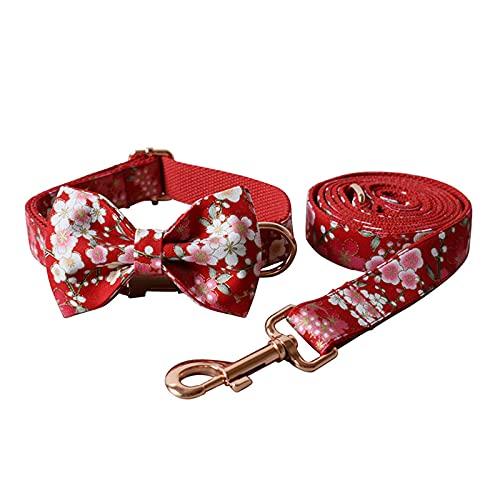 ZZCR Collar De Perro Mascota Conjunto De Correa De Perro Hebilla De Metal De Oro Rosa Prevención Antifugas Collar para Caminar para Perros Collar Ajustable A L