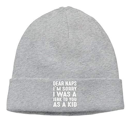 Ccsoixu Men Dear Naps I'm Sorry I Was A Jerk to You As A Kid Elastic Jogging Black Beanies Cap Hat