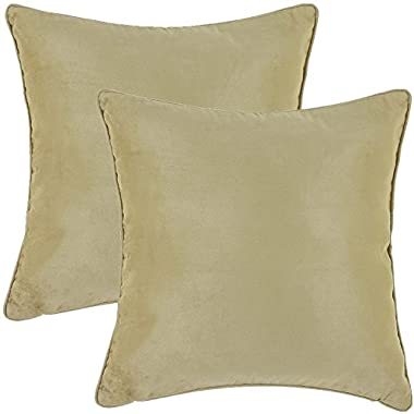 Super Soft Faux Suede Decorative Throw Pillow Cover with Zipper - 18  X 18  - Sage (Set of 2)