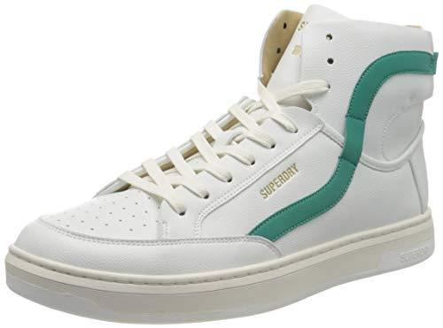 Superdry Mens Basket Lux Trainer Sneaker, White/Aqua,44 EU