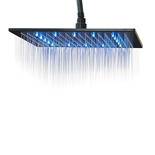 Rozin LED Light 16-inch Rainfall Shower Head Bathroom Square Top Sprayer Black Color
