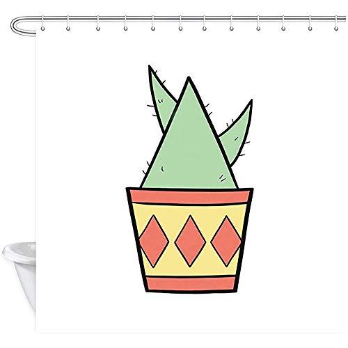 ABRAN Cartoon Cactus Duschvorhang, Triangel-Topfpflanzen & Retro-Blumentöpfe, wasserdichter Duschvorhang aus Polyester, Badaccessoires mit