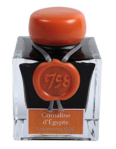 J.Herbin 15556JT Tintenflakon Cornaline d´Egypte 1798 (50 ml, mit silbernem Glitzer) orange