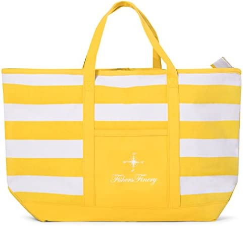 Fishers Finery Large Beach Bag with Zipper Packable Beach Bag Pool Bag Blue Tote Yellow M product image