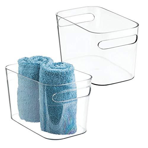 mDesign 2er-Set Badkorb aus Kunststoff – Aufbewahrung für Kosmetik, Shampoo, Lotion, Parfüm etc. – auch als Handtuch Aufbewahrung geeignet – durchsichtig