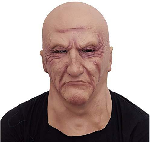 FXNB Halloween-Maske, Künstliche Gesichtsmaske Festspiel Maske Aktivität Partei Horror Wahres Gesicht Aufkleber Gesicht Make-Up, Latex Alter Mann Kopfbedeckungen Masken (Color, A),A