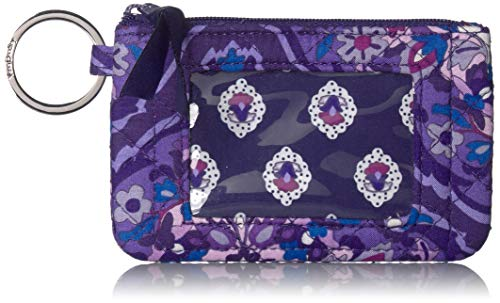 Vera Bradley Women's Wallet Signature Cotton Zip ID Case, Regal Rosette, One Size