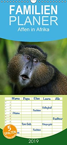Affen in Afrika - Familienplaner hoch (Wandkalender 2019 , 21 cm x 45 cm, hoch): Affen Afrikas in ihrem natürlichen Lebensraum (Monatskalender, 14 Seiten ) (CALVENDO Tiere)