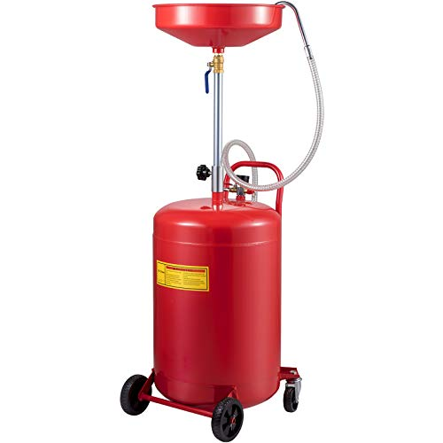 VEVOR Waste Oil Drain Tank 20 Gallon Portable Oil Drain Air Operated Drainer Oil Change, Oil Drain Container, Fluid Fuel Transfer Drainage Adjustable Funnel Height, with Wheel For Easy Oil Removal