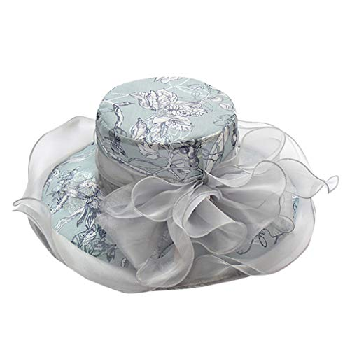 Jamicy  Flower Fashion hat Holiday Vacation Sun Protection Sun hat Ms. Organza Church Wide Side Tea Party Wedding hat Floral Print Outdoor Party hat Beach hat (Gray)