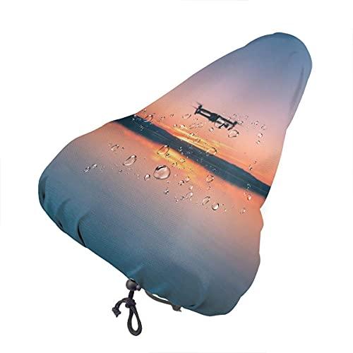 Parapioggia Impermeabile per seggiolino Bici Sunset Dog Sea Wave Sky con Coulisse, Copertura Protettiva per Sella Bicicletta Resistente all'Acqua