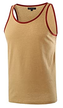 HETHCODE Men s Classic Basic Athletic Jersey Tank Top Casual T Shirts Khaki/Rusty L