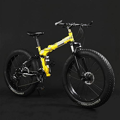 PARTAS A Healthy Trip, Adult Mountain Bikes, Foldable Frame Fat Tire Dual-Suspension Mountain Bicycle, High-Carbon Steel Frame, All Terrain Mountain Bike,Travel Convenience