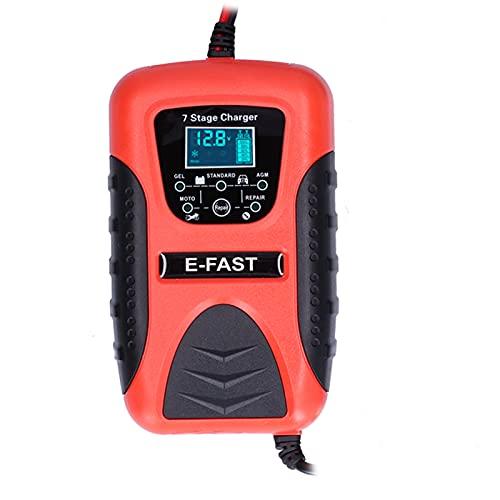 Cargador de batería de coche Qiilu, cargador de batería de coche automático de 12 V y 7 A, 7 etapas para cortacésped, motocicleta, SUV, barco, enchufe de la UE 100-240 V
