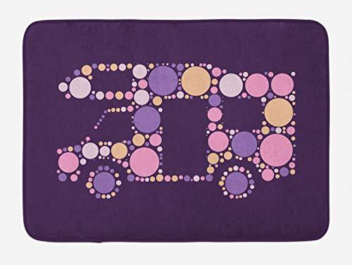 ABAKUHAUS RV Tapete para Baño, Puntillismo Ilustraciones Van Retro, Decorativo de Felpa Estampada con Dorso Antideslizante, 45 cm x 75 cm, Multicolor