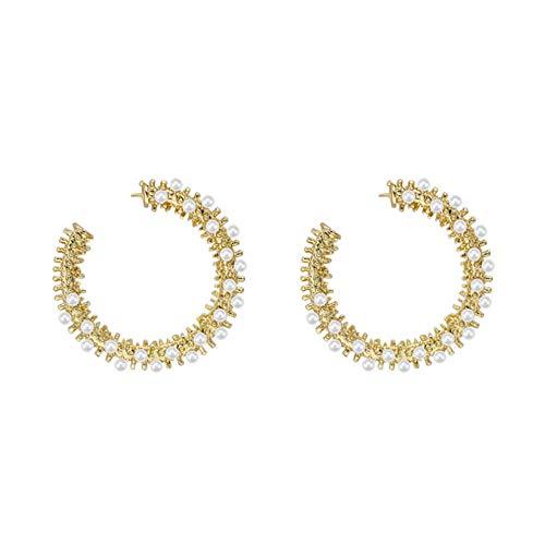 Trendy Shaped Temperament Earring New Simple Imitation Pearl Small Hoop Earrings For Women
