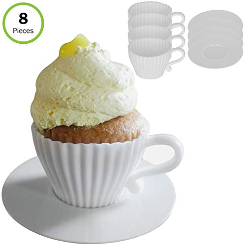 Evelots Silicone Baking Teacups With Saucers-Cupcake Mold-Tea Set-Reusable-8 PCS