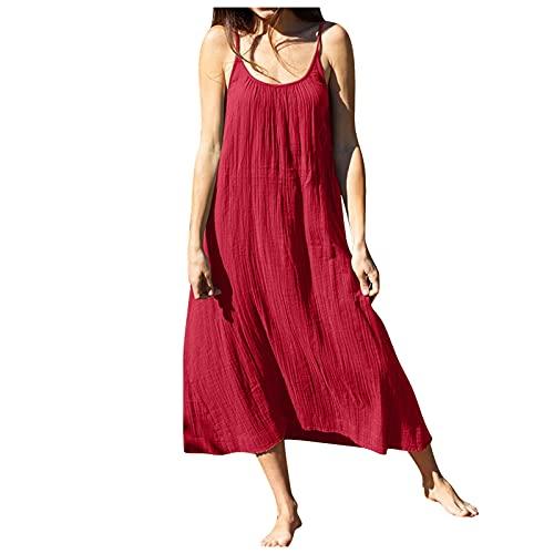 YANFANG Mujeres Casual O-Escote Vestido SóLido Manga Corta Bolsillo Suelto Suelto,Vestido para Mujer Verano Color Falda Larga De Playa Fiesta con Cuello Redondo Tops,Red,S