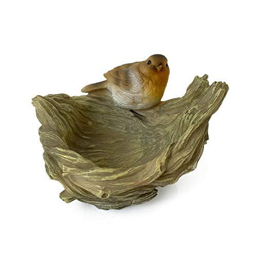 Darthome Ltd Plato de resina para exteriores con petirrojo en árbol, tronco, comedero de pájaros, plato de escultura de mesa de 20 cm
