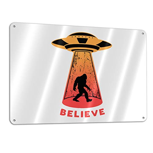 UFO Alien Bigfoot Abduction Believe Warning Sign,Caution Sign,Rust Free Aluminum,Metal Reflective Sign,Easy Mounting,Weather/Fade Resistant,12x8 Inches Indoor/Outdoor Use