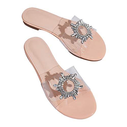 LLEH 2020 Zapatos de Plataforma Plana para Mujer, Sandalias y Zapatillas Transparentes de PVC, Diamante de Flor de Sol,Apricot,36